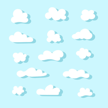 Set of cute cartoon clouds. Vector illustration