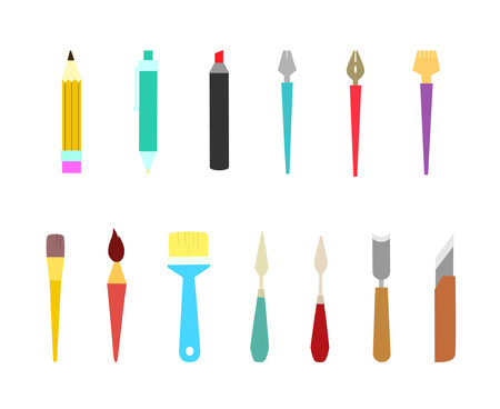 Collection of tools. Vector illustration. Tools for professional artists, students of special art schools and amateurs
