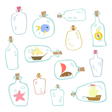 Collection of empty bottles with sea elements. Marine theme. Great for childrens design Ilustracja