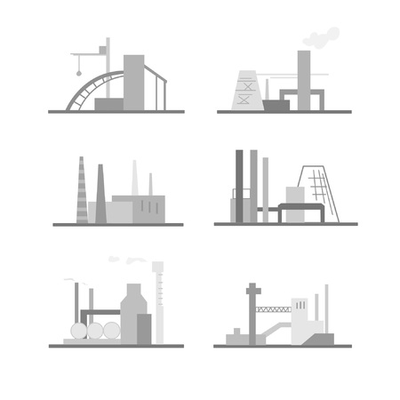 Images of industrial buildings and structures. Set of compositions on the theme of production. Suitable for creating corporate identity, logo, advertising Stock Illustratie
