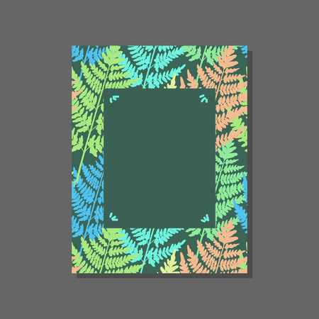 Frame with wild fern. Bright wood decoration. Applicable in various areas of design.