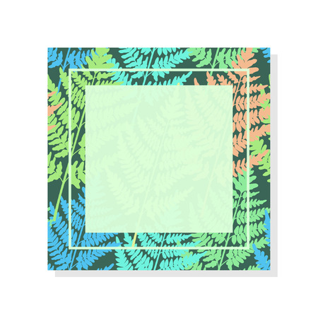 Frame with wild fern. Bright wood decoration. Applicable in various areas of design. Zdjęcie Seryjne - 125337045