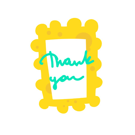 Inscription in a bright cartoon frame. Hand lettering Thank You. Words of gratitude. Great for cards, textiles, posters and other design Zdjęcie Seryjne - 125337050