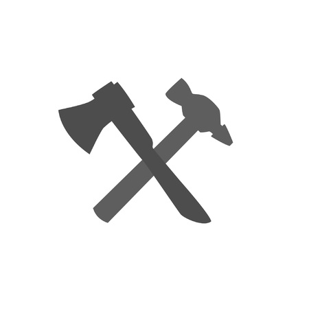 Brand logo for repair and construction companies. Crossed ax and hammer. Stock Illustratie
