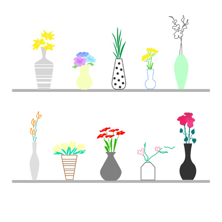 Collection of stylish bouquets in vases. Great for use by flower shops. Cool graphics.  Vector illustration Ilustrace