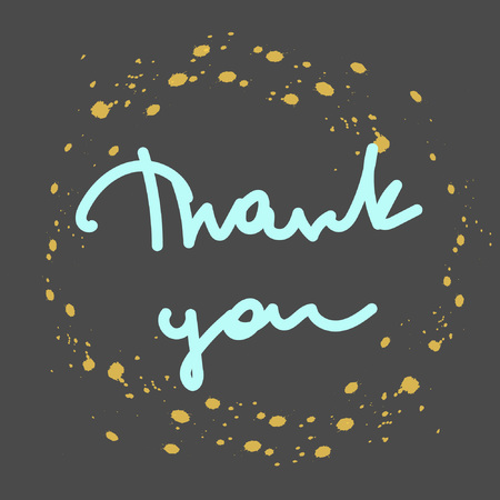 Hand lettering Thank You. Words of gratitude. Great for cards, textiles, posters Illustration