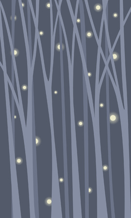 Tranquil background with a thicket of forest. Fireflies fly among tree trunks. Illustration