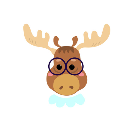 Cute cartoon character. Stylish moose in glasses. Cool picture is great for children's products: clothes, textiles, postcards, stationery products and other things. Vector illustration. Illustration