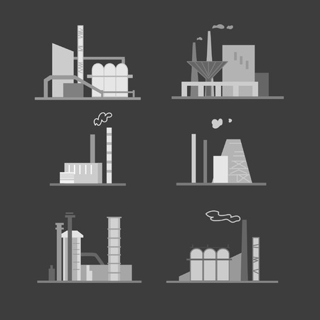 Images of industrial buildings and structures. Suitable for creating corporate identity, logo, advertising Stock Illustratie