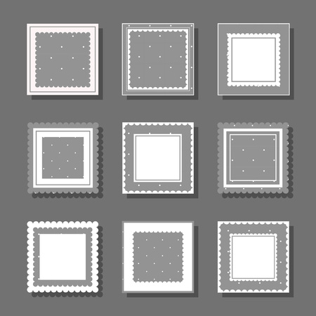 Collection of square cute frames. It are filled with a pattern in polka dots and also decorated with frills. Suitable for girls and children. Monochrome design