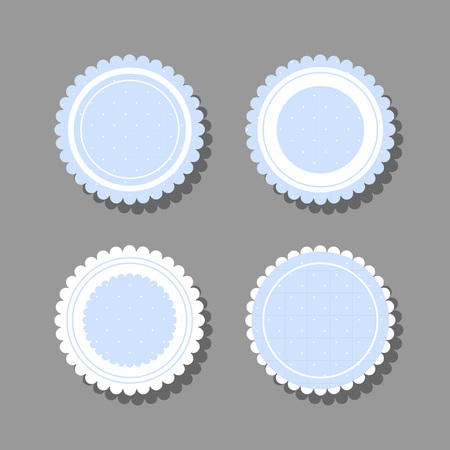 Sweet round frame with frills and polka dots. Better fit design for girls and children. Can be used in various types of typography Vectores