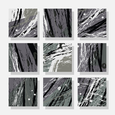 Collection of square backgrounds with bright abstract drawings. Dynamic composition with torn strips. Perfect for brochures, advertising, invitations, postcards and other printed products