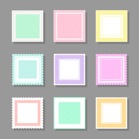 Collection of square cute frames. It are filled with a pattern in polka dots and also decorated with frills. Suitable for girls and children.