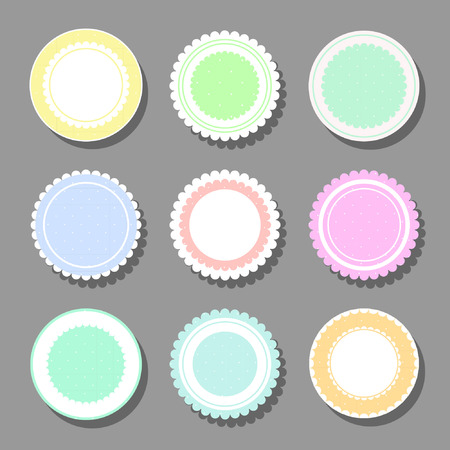 Collection of round cute frames. It are filled with a pattern in polka dots and also decorated with frills. Great for photos, cards, tags, invitations, announcement.