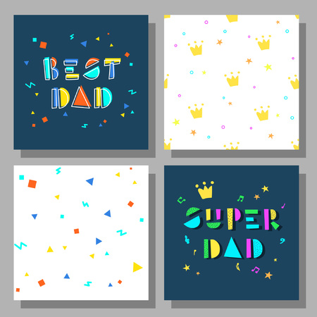 Collection of postcards and backgrounds for the father's day. Best Dad, Super Dad. Cute prints correspond to postcard.