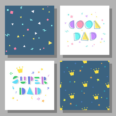 Collection of postcards and backgrounds for the father's day. Cool Dad, Super Dad. Prints correspond to postcards in style.
