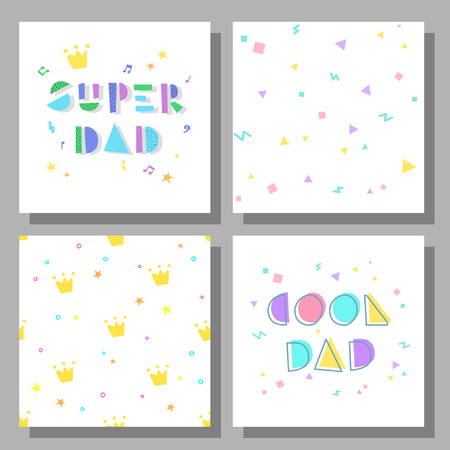 Collection of postcards and backgrounds for the fathers day. Cool Dad, Super Dad.  Prints correspond to postcards in style. Illustration