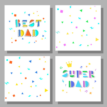 Collection of postcards and backgrounds for the fathers day. Best Dad, Super Dad. Cute prints correspond to postcard.