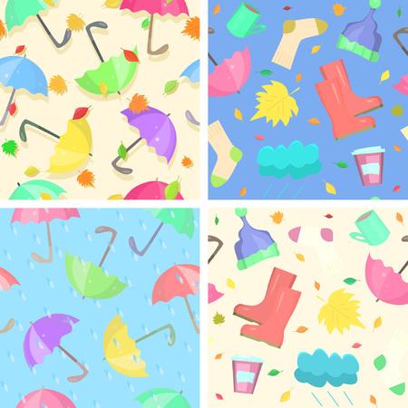 Collection de modèles sans couture d'automne lumineux. Attributs indispensables de tout automne : pluie, chute de feuilles, parapluies, bottes en caoutchouc et autres choses confortables pour le mauvais temps