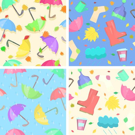 Collection of bright autumn seamless patterns. Indispensable attributes of any autumn: rain, leaf fall, umbrellas, rubber boots and other cozy things for bad weather