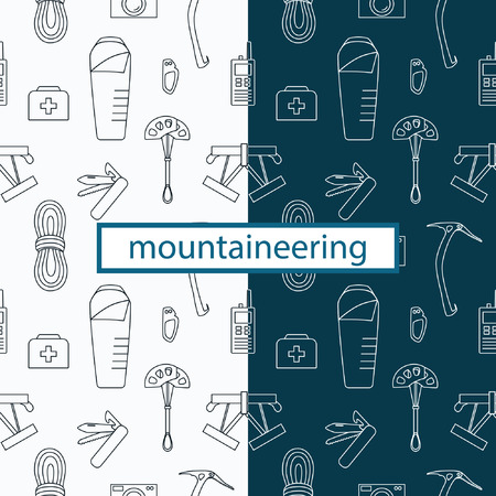 Line seamless pattern with mountaineering theme. Equipment and tools for hiking, mountaineering, tourism, rock climbing and other outdoor activities in nature. Ilustração