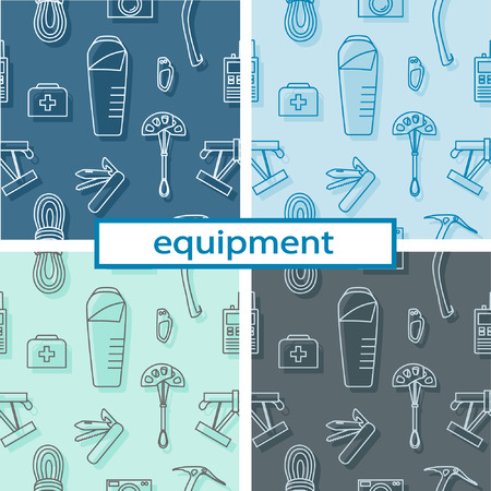 Set of seamless pattern with equipment and tools for hiking, mountaineering, tourism, rock climbing and other outdoor activities in nature. Linear image. Vector illustration