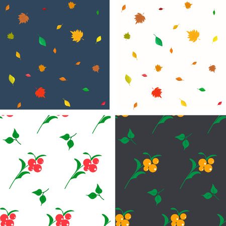 Collection of summer-fall seamless patterns. The whirling leaves and ripe berries perfectly decorate any shape 向量圖像