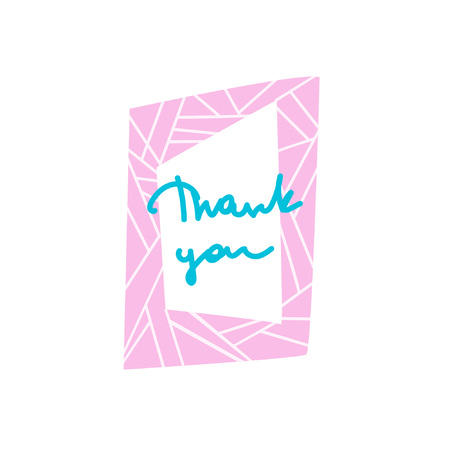 Inscription in a bright cartoon frame. Hand lettering Thank You. Words of gratitude. Great for cards, textiles, posters and other design Illustration