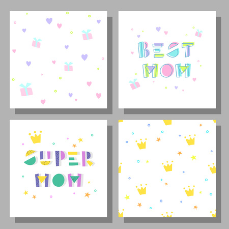 Collection of postcards and backgrounds for the mother's day. Fonts have a geometric cartoon style of writing. Cute prints correspond to postcard. Best Mom, Super Mom. 向量圖像