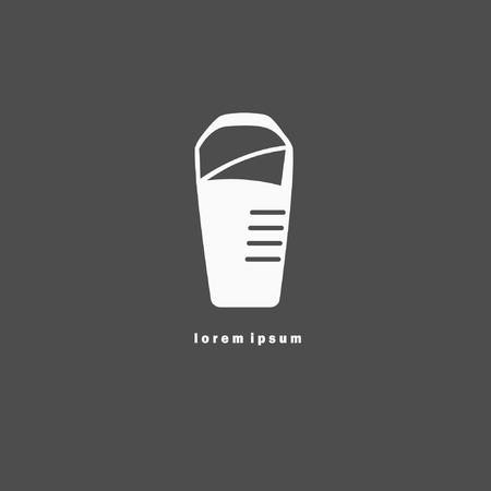Monochrome sleeping bag icon. Can be used as element of corporate identity, logo Ilustração