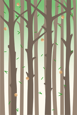 Background with tree trunks and falling fir cones and needles. A hovel forest. Ilustracja