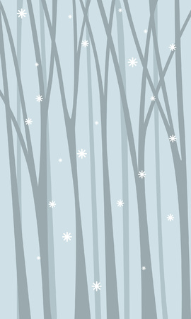 A quiet thicket of forest with snowflakes among the trunks.