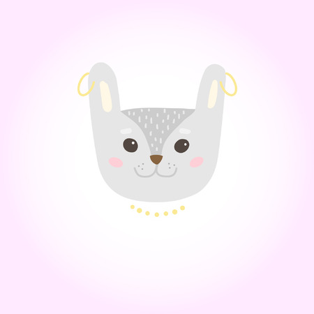 Cute cartoon character of a rabbit. Cool picture is great for children's products: clothes, textiles, postcards, stationery products and other things. Vector illustration.