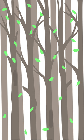 Background with a thicket of forest and falling leaves. Vector Illustration