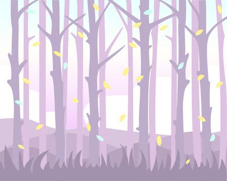 Sfondo magico con foglie che cadono tra il tronco degli alberi. Sfumature pastello.