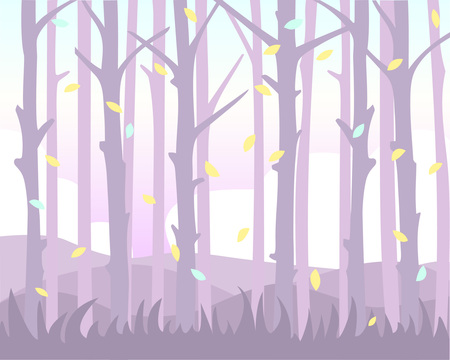 Magical background with falling leaves among the trunk of trees. Pastel shades.