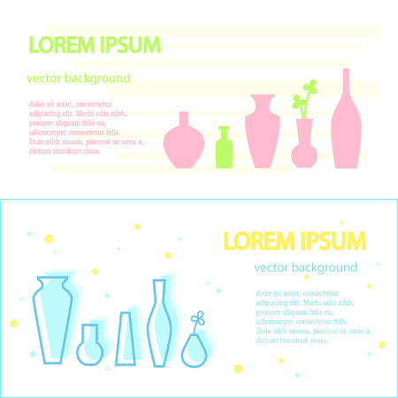 Templates of the advertising brochure for manufacturers or distributors of various vases and jugs. Graphics for advertising, business cards, announcements and banners.
