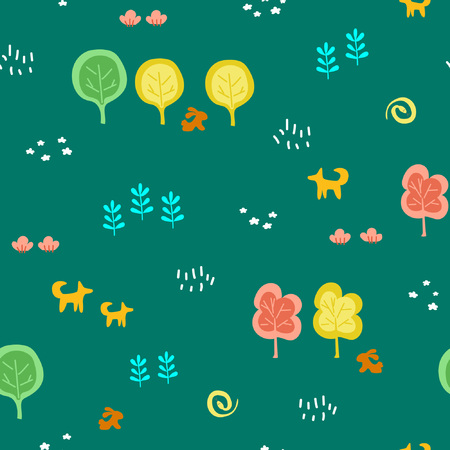 Cartoon children's seamless pattern with forest theme. Cool bright ornament is great for prints, textiles, covers, gift wrappers, backdrops. Vector illustration. Banco de Imagens - 125052894