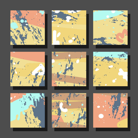 Collection of square backgrounds with bright abstract drawings. Dynamic compositions with chaotic strokes, stains and sprayed paint. Perfect for brochures, advertising, invitations, postcards and other printed products