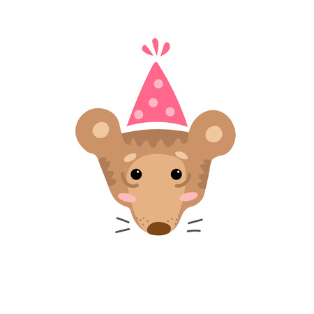 Cute cartoon character of bear in party hat. Cool picture is great for children's products: clothes, textiles, postcards, stationery products and other things. Vector illustration.
