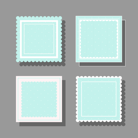 Nice square frame with frills and polka dots. Great for photos, cards, tags, invitations, announcement. Vectores