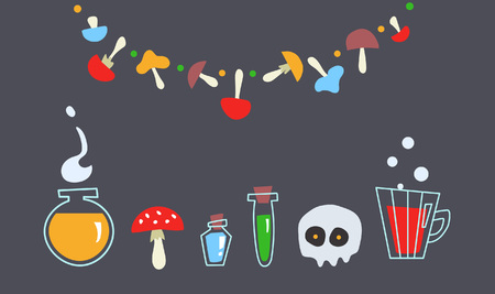 Festive composition on the theme of potion-making and magic. Set of witches. Good for use on a Halloween or a childrens holiday. Ilustração