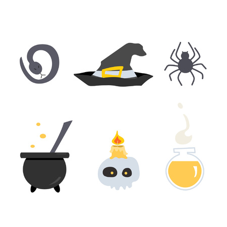 Set of witch tools and materials. Great for creating a design on the theme of potions, fortune telling and Halloween. Imagens - 124931058