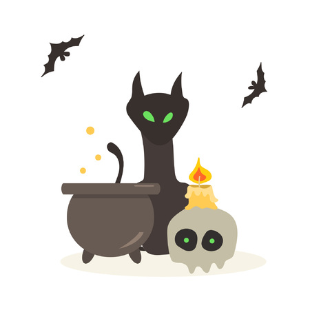 Composition on the theme of potion-making and magic. Great for greeting cards, invitations, posters, flyers, textiles, t-shirts, stationery, souvenirs. Suitable for celebrating Halloween. 일러스트