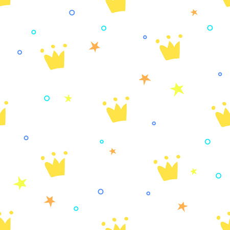 Childish seamless pattern with crowns and stars. Great for childrens products and design Ilustração
