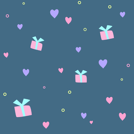 Seamless pattern with hearts and gifts in pastel colors. Great for wallpaper and gift wrapping, textiles, fabrics. Also can be used as a background for different types of design Ilustração