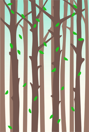 Falling foliage against the background of tree trunks. Vector backdrop