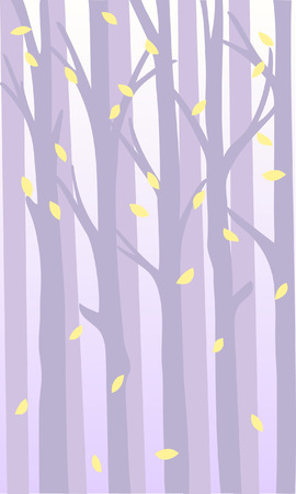 Mysterious background with forest in fog and falling leaves. Pastel shades.