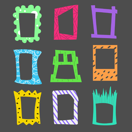 Collection of cartoon bright frames. Suitable for photos, pictures, letters, invitations and other design
