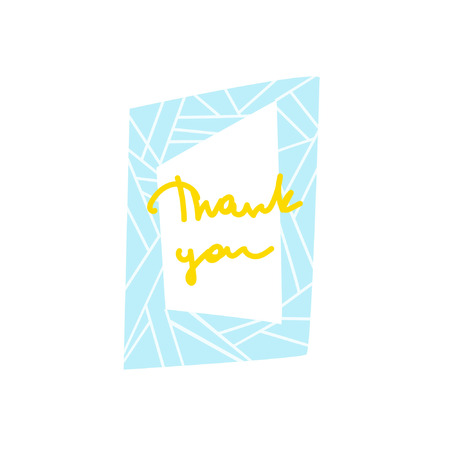 Inscription in a bright cartoon frame. Hand lettering Thank You. Words of gratitude. Great for cards, textiles, posters and other design Ilustração